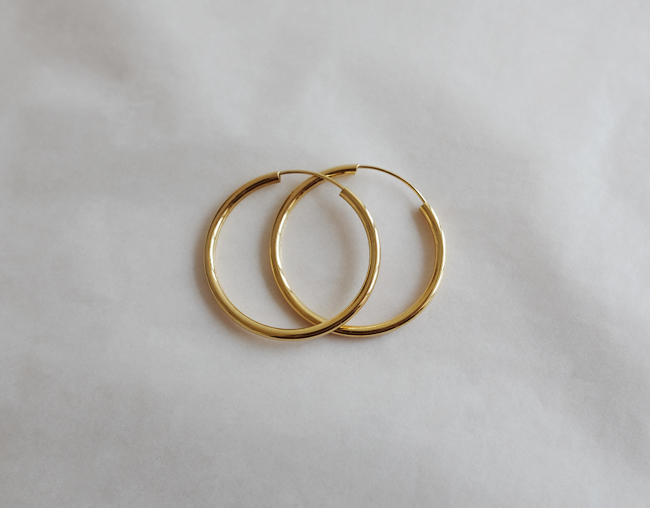 35mm Pipe Gold & Silver Earring (한쌍)