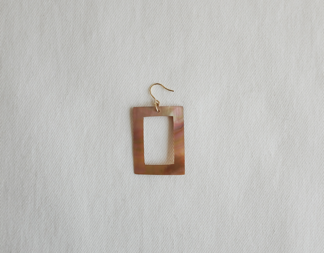 Rectangle Pearl Earring