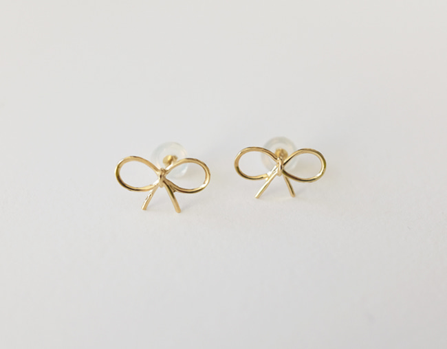 14k gold Ribbon Earring