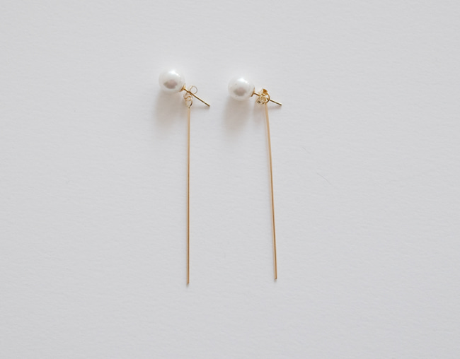 14k 2way Long Bar Pearl Earring