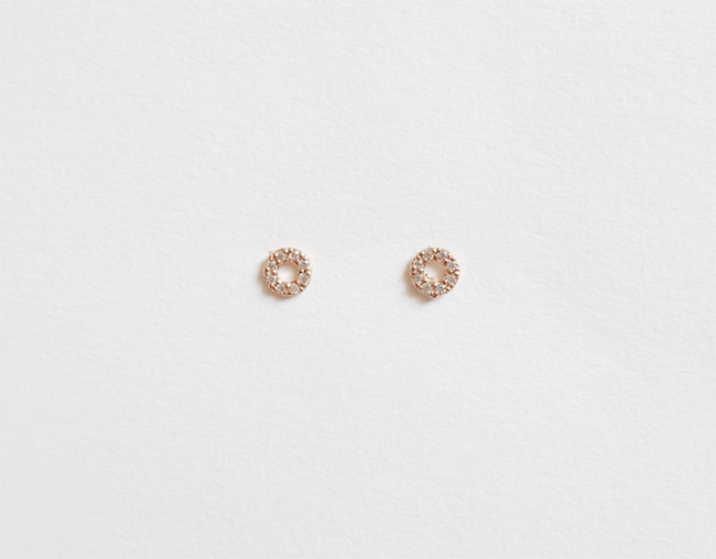 14k Rosegold Mini Circle Earring
