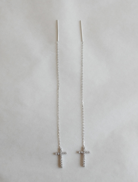Silver Long Cross Earring