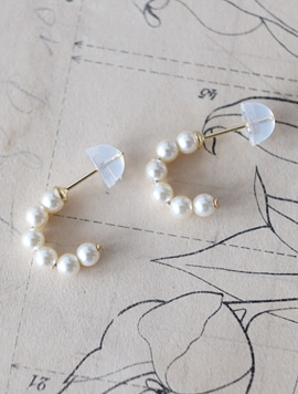 14k gold Pearl Half Circle Earring