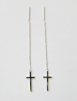 Silver Silver Long Cross Earring ver.2
