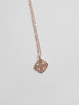 14k Rosegold Diamond Cross Necklace