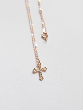 14k Rosegold Antique Cross Necklace