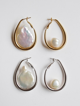 Water drop Pearl Unbalance Earring