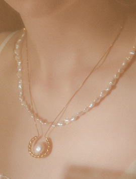 Baroque Pearl Gold 2way Necklace - 2type