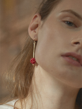 Red Coral Berry Earring