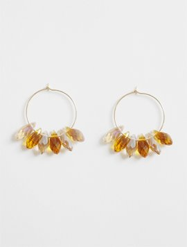 Drop Glass Mix Ring Earring