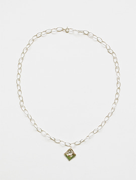 Rose Oval Chain Necklace (Silver)